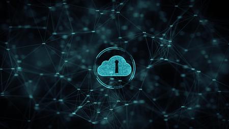Cyber Security Cloud Computing Big Data Online-Speicher- und Schutztechnologie-Netzwerk- und Datenverbindungskonzept.