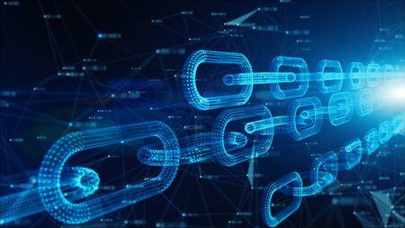 Profundidad de campo, conexiones de eslabones de cadena de red, moneda Crypto conectada y concepto de red de tecnología digital.