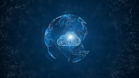 Concepto de seguridad cibernética de computación en la nube digital de red de datos seguros. Elemento Tierra