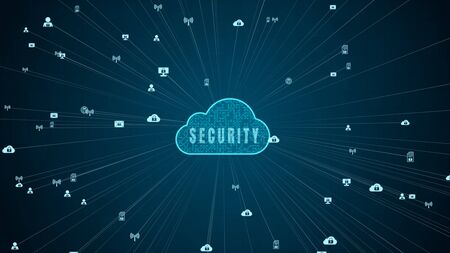 Secure Data Network Digital Cloud Computing Cyber Security Concept