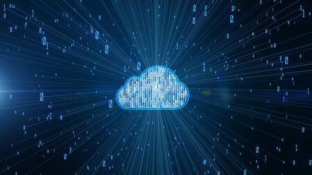 Digitale Daten der Cybersicherheit und konzeptionelle futuristische Informationstechnologie von Big Data Cloud Computing mit künstlicher Intelligenz AI