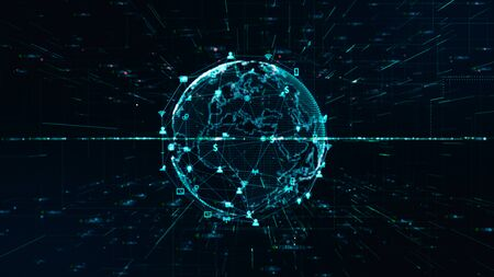 Technology Network Data Connection, Digital Network and Cyber Security Concept.