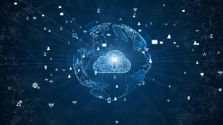 Secure Data Network Digital Cloud Computing Cyber Security Concept. Stock Photo