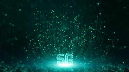 5G connectivity of digital data and conceptual futuristic information technology using artificial intelligence AI Imagens - 129829611