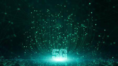 Conectividad 5G de datos digitales y tecnología de información conceptual futurista utilizando inteligencia artificial AI Foto de archivo