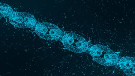 Depth of field, Network Chain Links Connections, Crypto currency connected and Digital technology network concept.