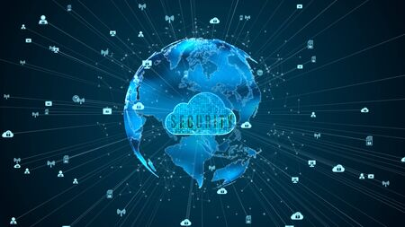 Secure Data Network Digital Cloud Computing Cyber Security Concept. Earth Element Furnished by Nasa Stock Photo
