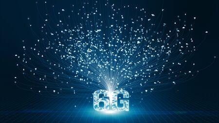 6G hi speeds connection futuristic abstract digital technology background concept Banco de Imagens