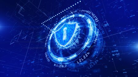 HUD and Shield Icon of Cyber Security, Digital Data Network Protection, Future Technology Network Concept. Stok Fotoğraf