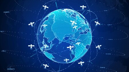 Abstract digital global network connections with satellite signals technology concept.