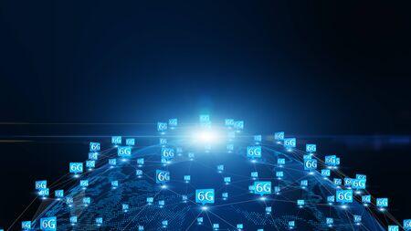 6G hi speeds connection futuristic abstract digital technology background concept. Banco de Imagens