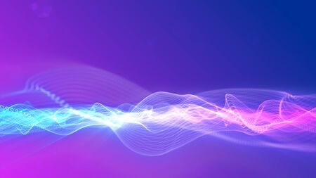 Abstract digital particles wave flow. Technology background concept