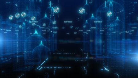 5G in Digital City, Technology Digital Data Connection Concept Stock fotó