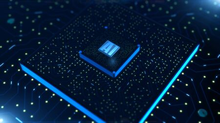 Digital 3d render of computer chip over circuit background with AI sign. AI(Artificial Intelligence) concept, Technology background