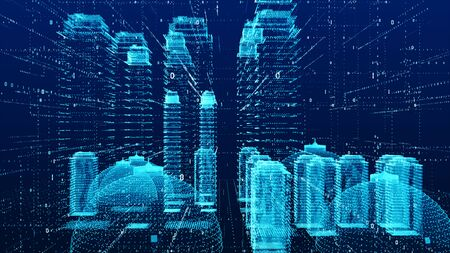 City in the Digital. Technology Digital Data Connection with futuristic matrix Concept