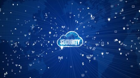 Technology Network and Data Connection, Secure Data Network Digital Cloud Computing, Cyber Security Concept Stock fotó