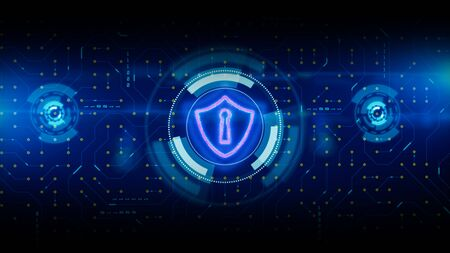 HUD and Shield Icon of Cyber Security. Circuit board data transfer. Digital Data Network Protection. Future Technology Network Concept. Stock fotó