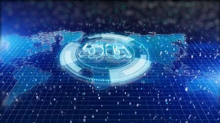 HUD, 5G connectivity of digital data and conceptual futuristic information of internet of things IOT big data using artificial intelligence AI, Technology background concepts
