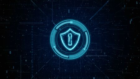 HUD and Shield Icon of Cyber Security, Digital Data Network Protection, Future Technology Network Concept. Stock fotó