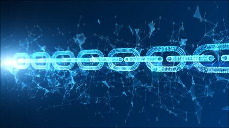 Digital particle blockchain network connection concept