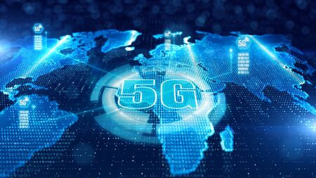 HUD, Scaning, 5G connectivity futuristic information of internet of things IOT big data using artificial intelligence AI, Technology background concept Stock fotó