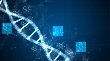 Abstract of digital DNA construction. Science animation. Conceptual design of genetics information. Stok Fotoğraf