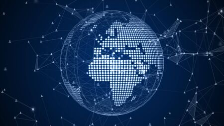 Technology network data connection, Digital network and cyber security concept. Earth element furnished by Nasa.