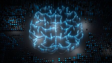 Artificial intelligence (AI) brain, big data flow analysis, deep learning modern technologies concepts. Super fast technology network connection.