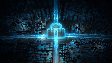 Lock Icon Cyber Security, Digital Data Network Protection, Future Technology Network Background Concept. Stock fotó
