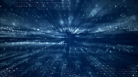 Digital cyberspace with particles and Digital data network connections concept.