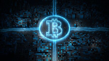 Bitcoin blockchain crypto currency digital encryption network, Money Exchange technology background concept