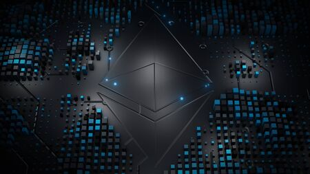 Blockchain crypto currency with ethereum currency sign in digital cyberspace. Digital encryption network. Digital money exchange background concept.