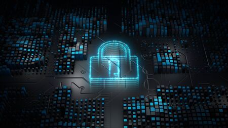 Lock Icon Cyber Security, Digital Data Network Protection, Future Technology Network Background Concept. 스톡 콘텐츠