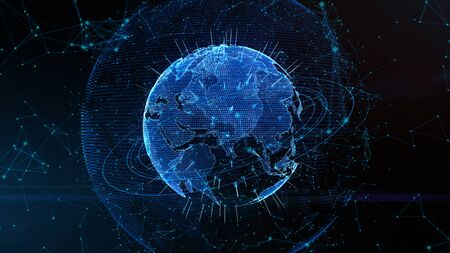 Digital data global network connections in cyberspace. Modern technology background concept. Stock fotó