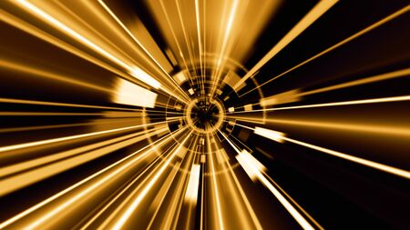 Abstract technology geometric tunnel. Futuristic digital gold color background Banco de Imagens