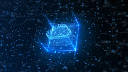 Hi tech Cloud computing and cyber security. Digital data network protection. High-speed connection data analysis. Technology data binary code network conveying. Future technology digital background.