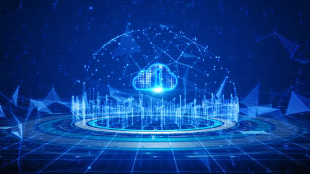 Hi-tech Shield of cyber security. Digital data network protection. High-speed connection data analysis. Technology data binary code network conveying. Future technology digital background concept.
