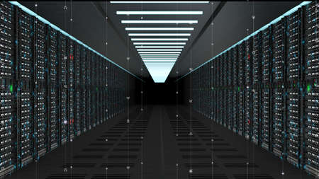 Digital data network servers in a server room of a data center or ISP with Electric circuit high speed data transfer Stockfoto
