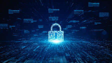 Lock Icon cyber security of digital data network protection. High speed connection data analysis. Technology data network conveying connectivity background concept. Imagens