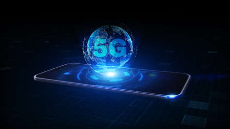 Smart Phone of 5g High Speed Internet Connection of Internet of things IOT, Technology Network Digital Data and Social network worldwide Connection Background Concept. 3D rendering