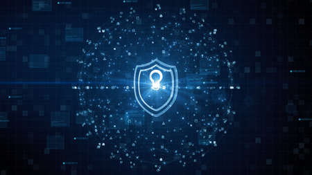 Shield Icon of Cyber Security. Digital Data Network Protection. High speed connection data analysis. Technology data binary code network conveying. Future technology digital background