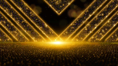 Digital gold color particles flow with dust and bokeh, Digital Stage floor and lighting for display your product background