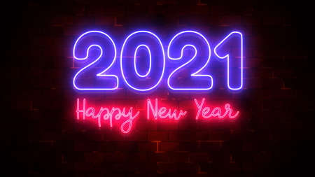 Happy New Year 2021 neon light and particle flow and brick wall decoration, Holiday and celebration background Imagens