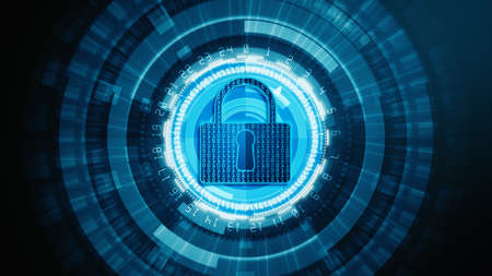 HUD and Lock Icon cyber security of digital data network protection, Future Technology Network Background Concept