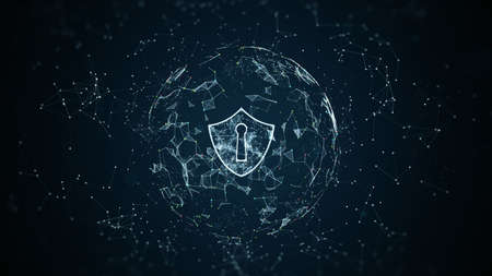 Shield icon on secure global network, Cyber security and information network protection, Future technology network for business and internet marketing, Digital abstract background.