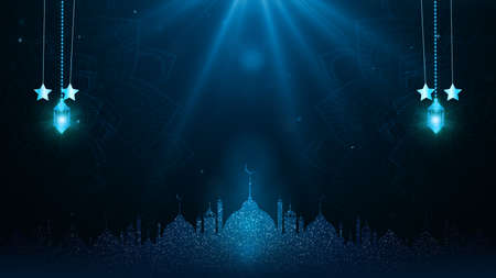 Eid Al Adha Mubarak and Traditional Lanterns Ramadan Islamic with Particle and Lighting on Blue Background Imagens