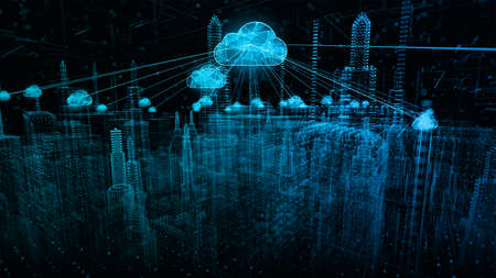 Smart city of cybersecurity digital data of futuristic and technology of cloud computing using artificial intelligence, 5g High speed internet connection and big data analysis background concept. Imagens