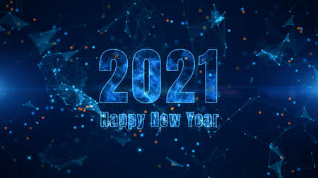 Happy New Year 2021 Bright Animation on Blue Background. Great for New Year, Christmas, Festival, Party Background