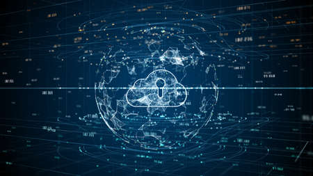Cyber security digital data of futuristic and technology of cloud computing using artificial intelligence, Global network 5g high-speed internet connection and big data analysis background.