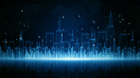 Smart City Digital Cyberspace, Digital Data Network Connections, Global Communication 5g High-Speed Internet Connection, Data Analysis Technology Digital Background Concept.